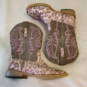 Girls Roper pink leopard boots size 1